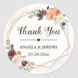 Geometric Frame Floral Wedding Favor Thank You Classic Round Sticker