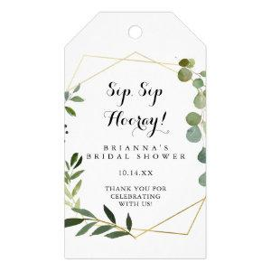 Geometric Gold Green Sip Sip Hooray Bridal Shower Gift Tags