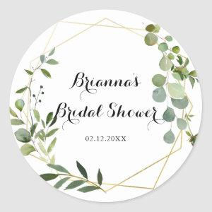 Geometric Gold Tropical Green Bridal Shower Favor Classic Round Sticker