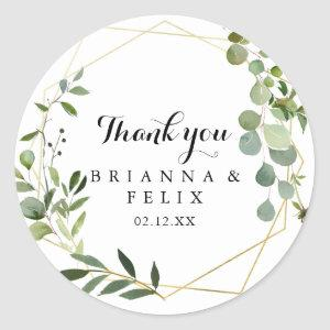 Geometric Gold Tropical Thank You Wedding Favor Classic Round Sticker