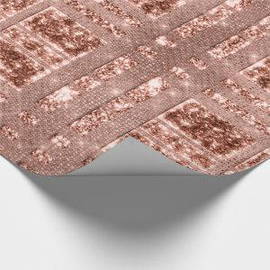 Geometry Sparkly Rose Gold Grily Copper Glitter Wrapping Paper