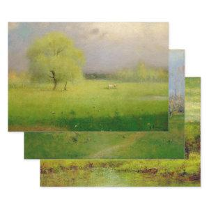 GEORGE INNESS SPRING PASTORALS DECOUPAGE WRAPPING PAPER SHEETS