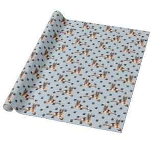 German Shepherd Dog Paw Print Pattern on Silver Wrapping Paper