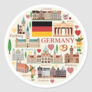 Germany Travel Icons Classic Round Sticker