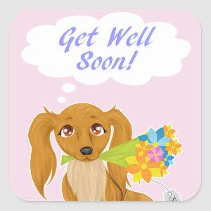 Get Well Soon Puppy Square Sticker