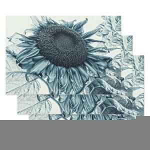 Giant Sunflowers Vintage Art Teal Blue Decoupage Wrapping Paper Sheets