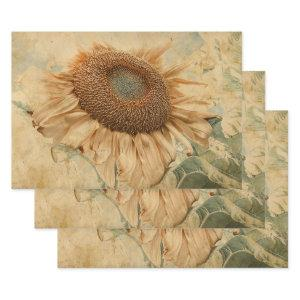 Giant Sunflowers Yellow Old Vintage Decoupage Art  Sheets