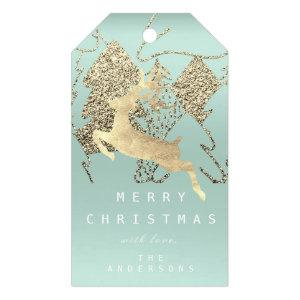 Gift To Reindeer Aqua Gold  Christmas Tree Gift Tags