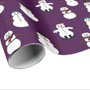 gift wrap Wrapping Paper purple snowman Christmas