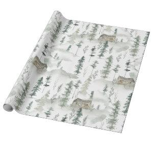 Gift Wrapping Paper Rustic Woodland Tree Cabin