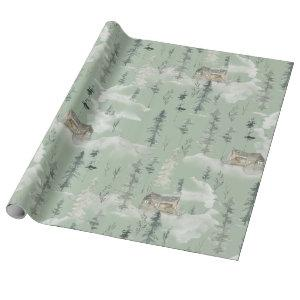 Gift Wrapping Paper Woodland Mountain Cabin 2