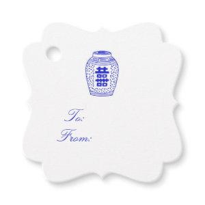 Ginger Jar White and Blue Gift Tag Simple!