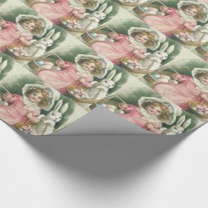 Girl Easter Basket Bunny Colored Eggs Wrapping Paper
