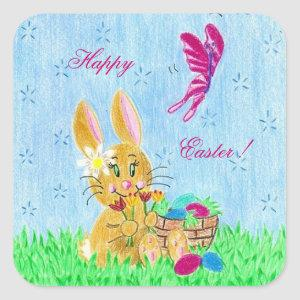 Girl Easter Bunny stickers