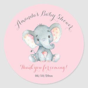 Girl Elephant Baby Shower Pink Thank You Favor Classic Round Sticker