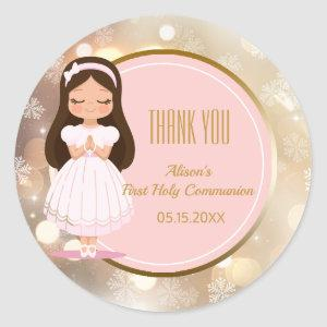 Girl First Holy Communion Winter Pink Gold Bokeh Classic Round Sticker