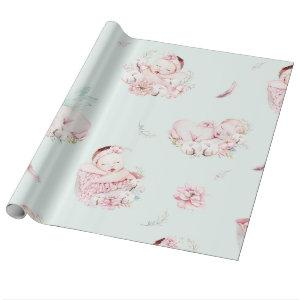 Girl Watercolor Babies Baby Shower Wrapping Paper