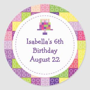 Girl's Building Bricks Blocks Birthday Favors Classic Round Sticker