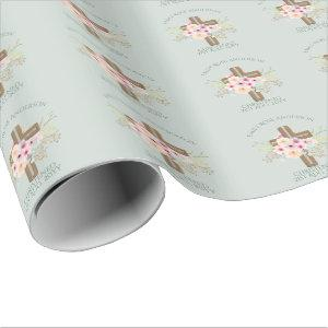 Girls Christening Baptism Floral Cross Customized Wrapping Paper