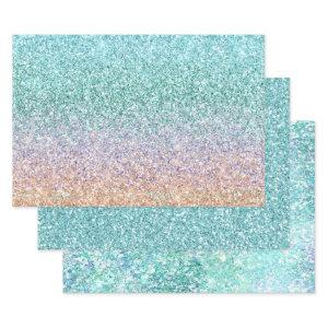 Girly Aqua Peach Gold Purple Mint Mermaid Glitter Wrapping Paper Sheets
