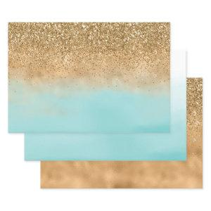 Girly Aqua Watercolor Gold Glitter Wrapping Paper Sheets