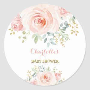 Girly Blush Pink Floral Baby Shower Favor Classic Round Sticker