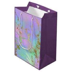 Girly Glam Marble | Trendy Playful Pastel Ombre Medium Gift Bag