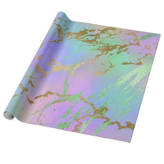 Girly Glam Party | Gold Marble Trendy Pastel Ombre Wrapping Paper