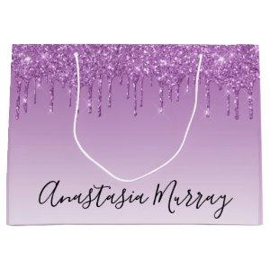 Girly & Glam Purple Lilac Glitter Drips Name Large Gift Bag
