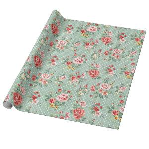 Girly Green Polka Dot Vintage Floral Pattern Wrapping Paper