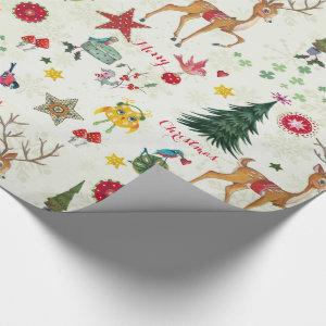 Girly Merry Christmas Deer - Glossy Wrapping Paper