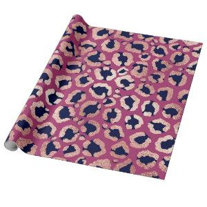 Girly Modern Rose Gold Navy Purple Leopard Print Wrapping Paper