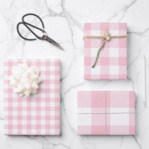 Girly Pastel Pink Gingham Plaid Multi Wrapping Paper Sheets