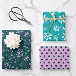 Girly Pattern Gift Christmas Holiday Wrapping Paper Sheets