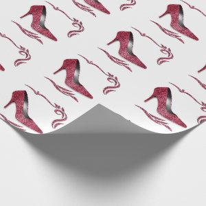 Girly Pink Cheetah Print Stiletto Heel Shoe Wrapping Paper