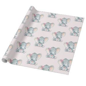 Girly Pink Elephant Baby Girl Shower 1st Birthday Wrapping Paper