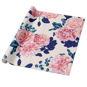 Girly Pink Navy Blue Country Painted Flowers Wrapping Paper
