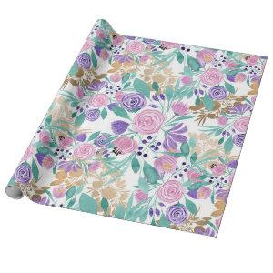 Girly Pink Violet Purple Gold Watercolor Flowers Wrapping Paper
