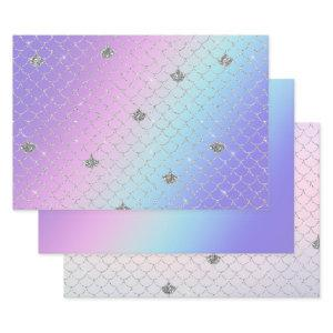 Girly Purple Pink Aqua Silver Mermaid Glitter Wrapping Paper Sheets
