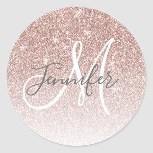 Girly Rose Gold Glitter Blush Monogram Name Classic Round Sticker