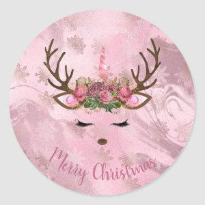Girly rose gold marble unicorn reindeer snowflakes classic round sticker