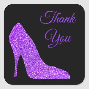 Girly Violet Glitter High Heel Black Thank You Square Sticker