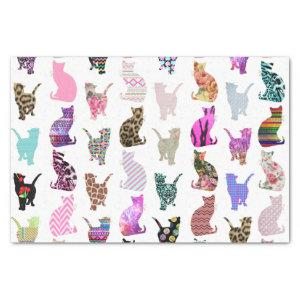 Girly Whimsical Cats aztec floral stripes pattern Tissue Paper
