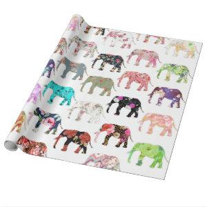 Girly Whimsical Retro Floral Elephants Pattern Wrapping Paper