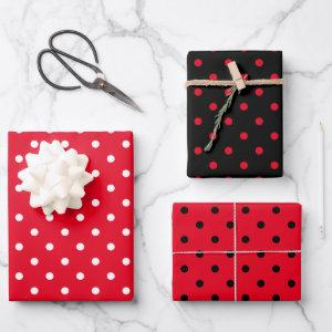 Girly White Black and Bright Red Polka Dot Mix Wrapping Paper Sheets