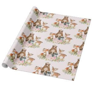 Girly Woodland Forest Animals Baby Shower Birthday Wrapping Paper