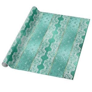 Glam Aqua Mint Green Golden Foil White Lace Wrapping Paper