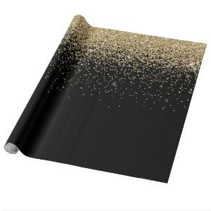 Glam Cascades of Gold Glitter Black Background Wrapping Paper
