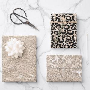Glam Champagne Glitter Animal Print Wrapping Paper Sheets
