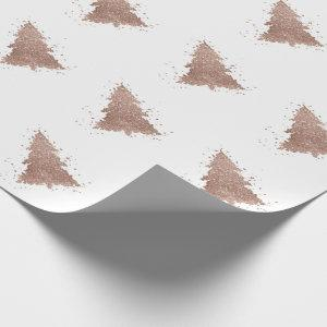 Glam Christmas Trees | Luxurious Rose Gold Glitter Wrapping Paper